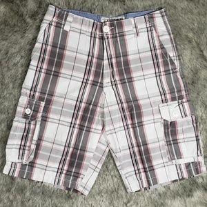 ECKO UNLTD White, Black and Red Plad Shorts